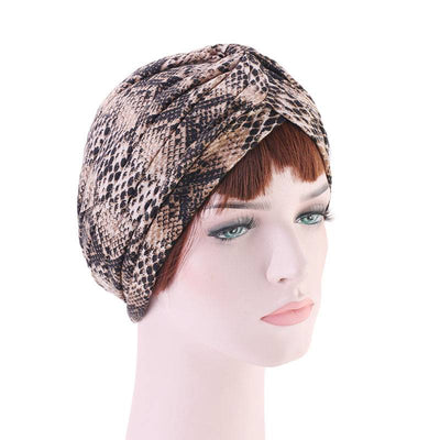 Claudia Cotton Printed Turban Shop Online Headcovering Cancer Hat Basic Hijab For Woman Floral Headwrap For Sabbath-Brown-2