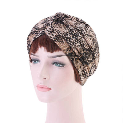 Claudia Cotton Printed Turban Shop Online Headcovering Cancer Hat Basic Hijab For Woman Floral Headwrap For Sabbath-Brown-4