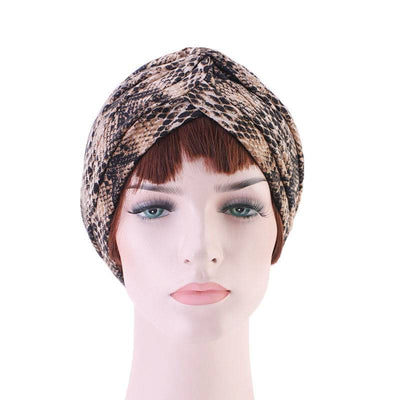 Claudia Cotton Printed Turban Shop Online Headcovering Cancer Hat Basic Hijab For Woman Floral Headwrap For Sabbath-Brown-3