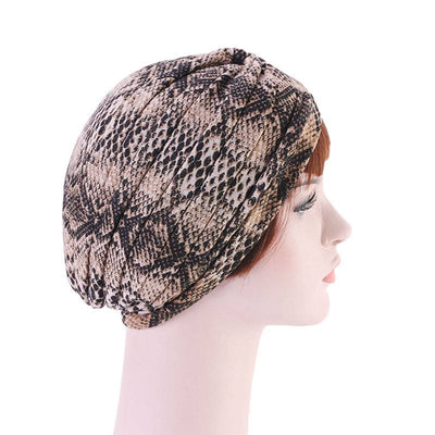 Claudia Cotton Printed Turban Shop Online Headcovering Cancer Hat Basic Hijab For Woman Floral Headwrap For Sabbath-Brown-5