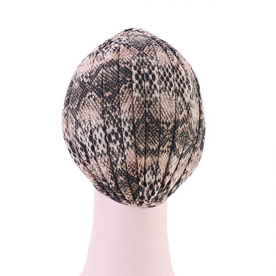 Claudia Cotton Printed Turban Shop Online Headcovering Cancer Hat Basic Hijab For Woman Floral Headwrap For Sabbath-Brown-6