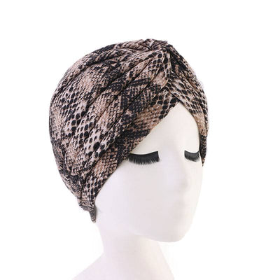 Claudia Cotton Printed Turban Shop Online Headcovering Cancer Hat Basic Hijab For Woman Floral Headwrap For Sabbath-Brown