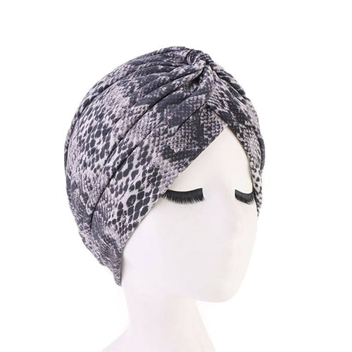 Claudia Cotton Printed Turban Shop Online Headcovering Cancer Hat Basic Hijab For Woman Floral Headwrap For Sabbath-Gray