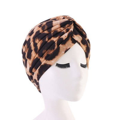 Claudia Cotton Printed Turban Shop Online Headcovering Cancer Hat Basic Hijab For Woman Floral Headwrap For Sabbath-Leopard