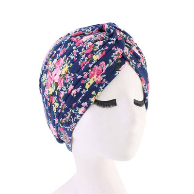 Claudia Cotton Printed Turban Shop Online Headcovering Cancer Hat Basic Hijab For Woman Floral Headwrap For Sabbath-Navy blue