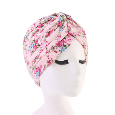Claudia Cotton Printed Turban Shop Online Headcovering Cancer Hat Basic Hijab For Woman Floral Headwrap For Sabbath-Pink