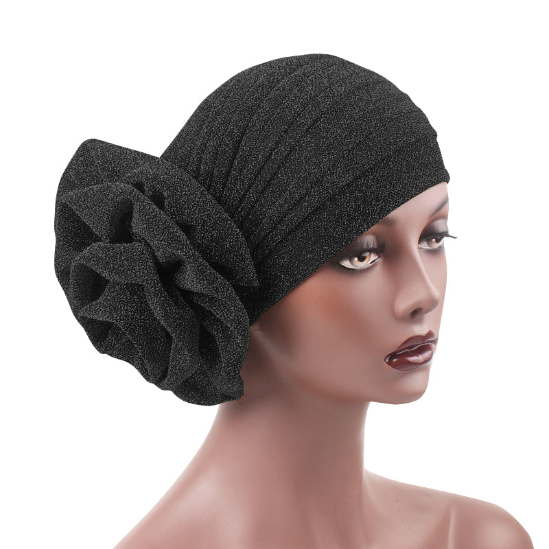 Claudia Shimmer Turban_Head covering_Head wrap_Floral_Shiny_Headcovers_Black