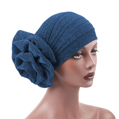 Claudia Shimmer Turban_Head covering_Head wrap_Floral_Shiny_Headcovers_Blue