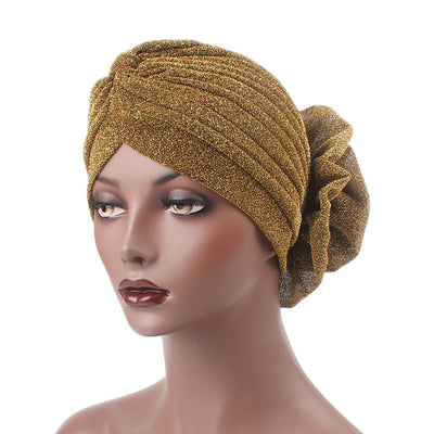 Claudia Shimmer Turban_Head covering_Head wrap_Floral_Shiny_Headcovers_Gold-4