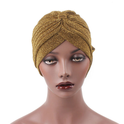 Claudia Shimmer Turban_Head covering_Head wrap_Floral_Shiny_Headcovers_Gold-5