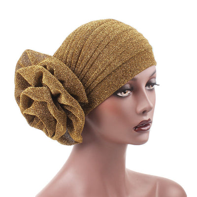 Claudia Shimmer Turban_Head covering_Head wrap_Floral_Shiny_Headcovers_Gold-2