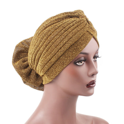 Claudia Shimmer Turban_Head covering_Head wrap_Floral_Shiny_Headcovers_Gold-7