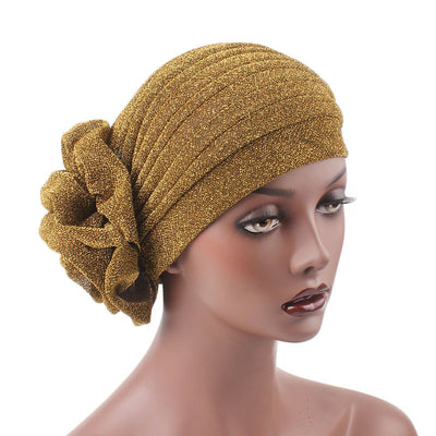Claudia Shimmer Turban_Head covering_Head wrap_Floral_Shiny_Headcovers_Gold-6
