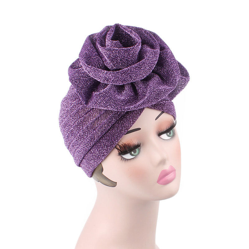 Claudia Shimmer Turban_Head covering_Head wrap_Floral_Shiny_Headcovers_Purple-2
