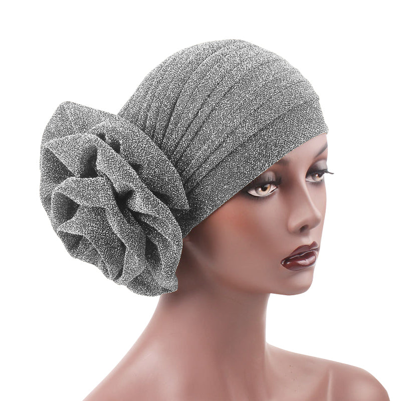 Claudia Shimmer Turban Head covering Head  wrap Floral Shiny Headcovers Silver 22af09751504