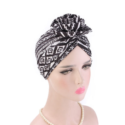 Cleo Turban_Turbans_Head_covering_Modest_Headcovres_Flower_Cotton_Chemo hat_Cancer hat_African_Print_Basic_Pre_tied_Black