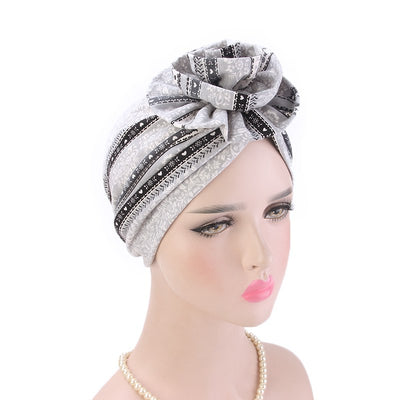 Cleo Turban_Turbans_Head_covering_Modest_Headcovres_Flower_Cotton_Chemo hat_Cancer hat_African_Print_Basic_Pre_tied_Light_Gray