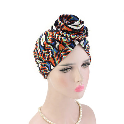 Cleo Turban_Turbans_Head_covering_Modest_Headcovres_Flower_Cotton_Chemo hat_Cancer hat_African_Print_Basic_Pre_tied_Orange