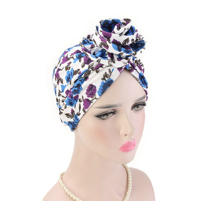 Cleo Turban_Turbans_Head_covering_Modest_Headcovres_Flower_Cotton_Chemo hat_Cancer hat_African_Print_Basic_Pre_tied_Purple