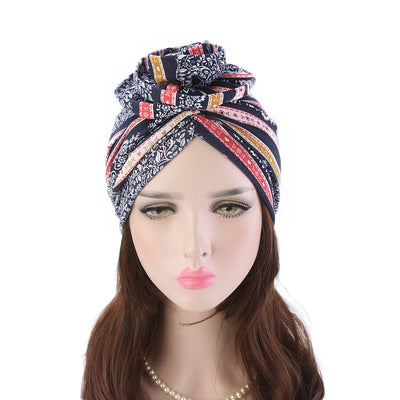 Cleo Turban_Turbans_Head_covering_Modest_Headcovres_Flower_Cotton_Chemo hat_Cancer hat_African_Print_Basic_Pre_tied_Red-3