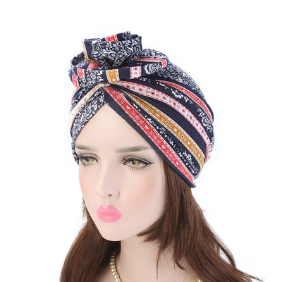 Cleo Turban_Turbans_Head_covering_Modest_Headcovres_Flower_Cotton_Chemo hat_Cancer hat_African_Print_Basic_Pre_tied_Red-6