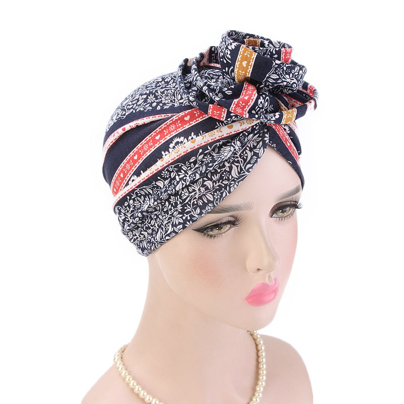Cleo Turban_Turbans_Head_covering_Modest_Headcovres_Flower_Cotton_Chemo hat_Cancer hat_African_Print_Basic_Pre_tied_Red