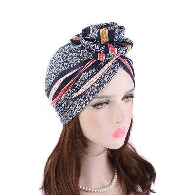 Cleo Turban_Turbans_Head_covering_Modest_Headcovres_Flower_Cotton_Chemo hat_Cancer hat_African_Print_Basic_Pre_tied_Red-2