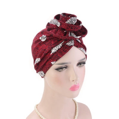 Cleo Turban_Turbans_Head_covering_Modest_Headcovres_Flower_Cotton_Chemo hat_Cancer hat_African_Print_Basic_Pre_tied_Wine