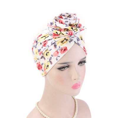 Cleo Turban_Turbans_Head_covering_Modest_Headcovres_Flower_Cotton_Chemo hat_Cancer hat_African_Print_Basic_Pre_tied_Yellow