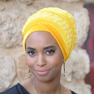 Lily_Flower_Headscarf_African_Head_wrap_Head_covering_for_cancer_patients _Yellow