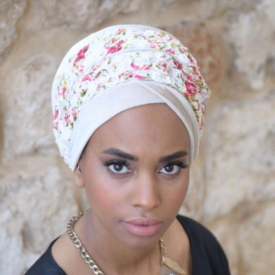 Rose Flower Velvet Headscarf-Turban-Beige Headscarf-Head scarf-Head Wrap-Hijab