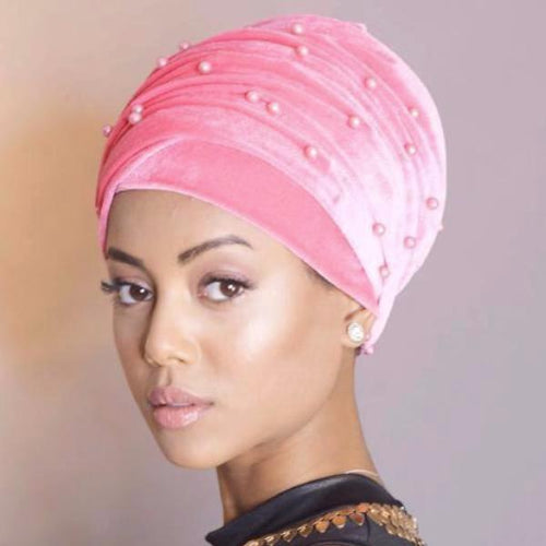 June_Beaded_Headscarf_Head_wrap_African_Head_covering_Outfit_Cancer_Hijab_Pink
