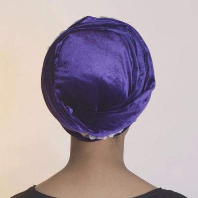 Rose Flower Velvet Headscarf-Turban-Purple Headscarf-Head scarf-Head Wrap-Hijab