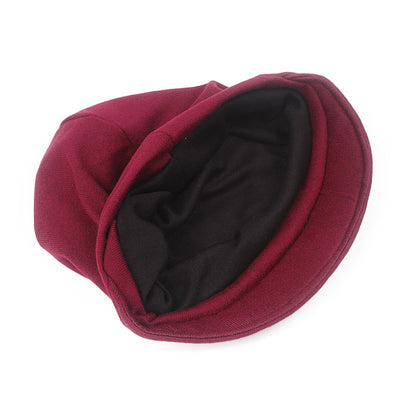 Debra Basic Wool Hat_Head covering_Buggy hat_Cap_Dreadlock hat_Winter_ Baggy_Beret_Beanie_Chimo hat_Red-2