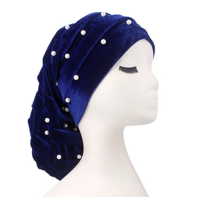 Diana Pearl Hat_African Hat_Head covering_Buggy hat_Cap_Rasta hat_Modest_Blue