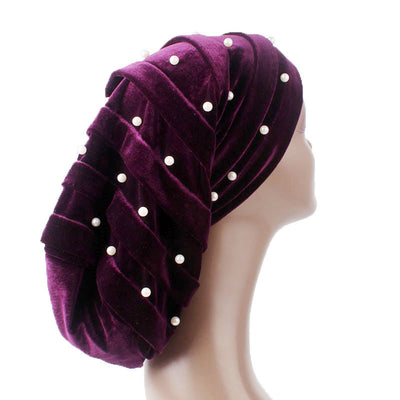 Diana Pearl Hat_African Hat_Head covering_Buggy hat_Cap_Rasta hat_Modest_Purple