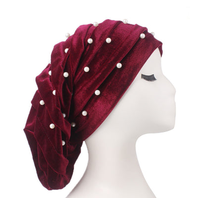 Diana Pearl Hat_African Hat_Head covering_Buggy hat_Cap_Rasta hat_Modest_Red