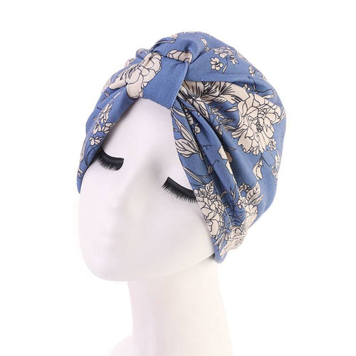 Dolly Patterned Turban Basic Headwrap Chemo Cap For Hair Loss Satin Liner Headcovering Summer Hair Accessories Headcovers Shop Online-Blue