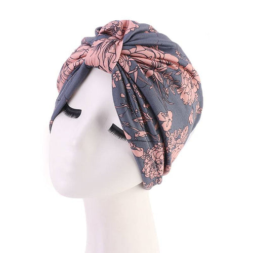 Dolly Patterned Turban Basic Headwrap Chemo Cap For Hair Loss Satin Liner Headcovering Summer Hair Accessories Headcovers Shop Online-Gray