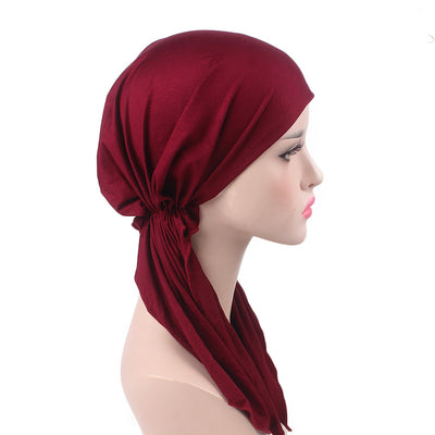 Eleanor_classic_Bandanna_Cancer_hat_Chemo hat_Beanie_Red_wine-3