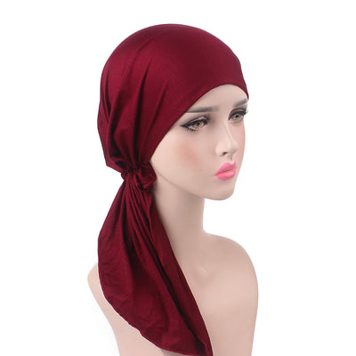 Eleanor_classic_Bandanna_Cancer_hat_Chemo hat_Beanie_Red_wine-4