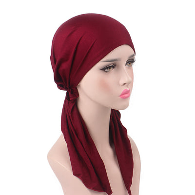 Eleanor_classic_Bandanna_Cancer_hat_Chemo hat_Beanie_Red_wine