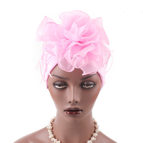 Elizabeth Flower Turban Buy online Modest Floral Headcovers Headwraps Tea Party Hats Women Ruffle Beanie Chemo Cap For Cancer Pink