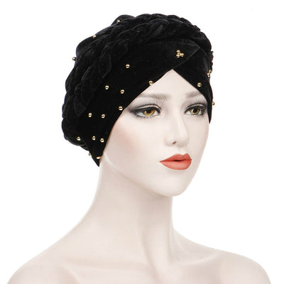 Faith Braided Headwrap Basic Headscarf Headwear Head covering Hijab Chemo Hat Pre-tied Black