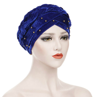 Faith Braided Headwrap Basic Headscarf Headwear Head covering Hijab Chemo Hat Pre-tied Blue