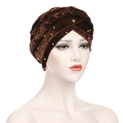 Faith Braided Headwrap Basic Headscarf Headwear Head covering Hijab Chemo Hat Pre-tied Brown
