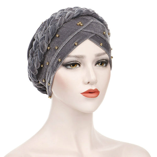 Faith Braided Headwrap Basic Headscarf Headwear Head covering Hijab Chemo Hat Pre-tied Gray