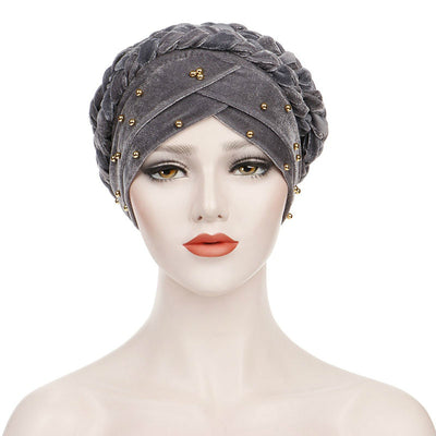 Faith Braided Headwrap Basic Headscarf Headwear Head covering Hijab Chemo Hat Pre-tied Gray-2