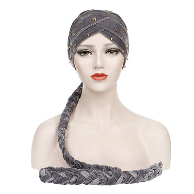 Faith Braided Headwrap Basic Headscarf Headwear Head covering Hijab Chemo Hat Pre-tied Gray-3