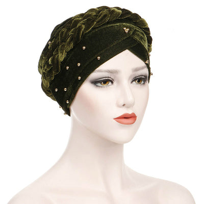 Faith Braided Headwrap Basic Headscarf Headwear Head covering Hijab Chemo Hat Pre-tied Green
